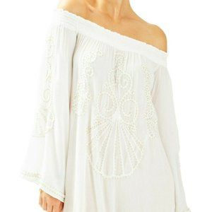 Lily Pulitzer White Off Shoulder Gold Beaded Top
